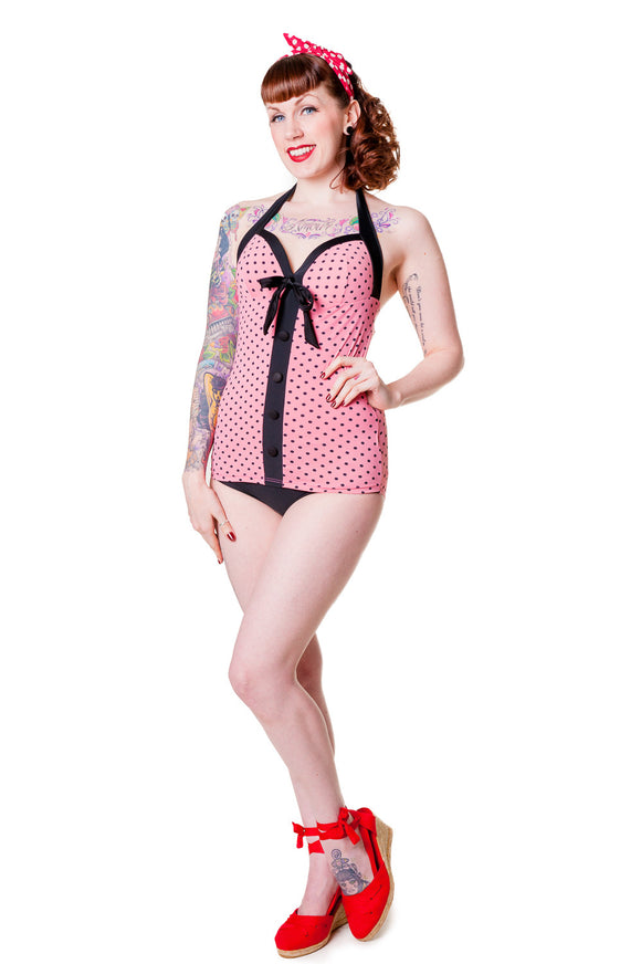 Banned Clothing - Pink Polka Dot Kitten Retro Swimsuit - Egg n Chips London