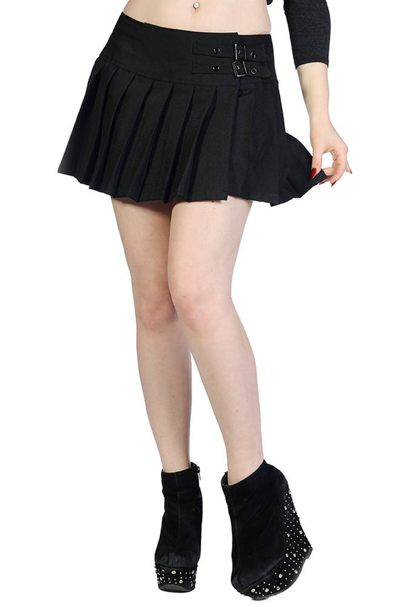 Banned Apparel - Plain Black Mini Skirt - Egg n Chips London