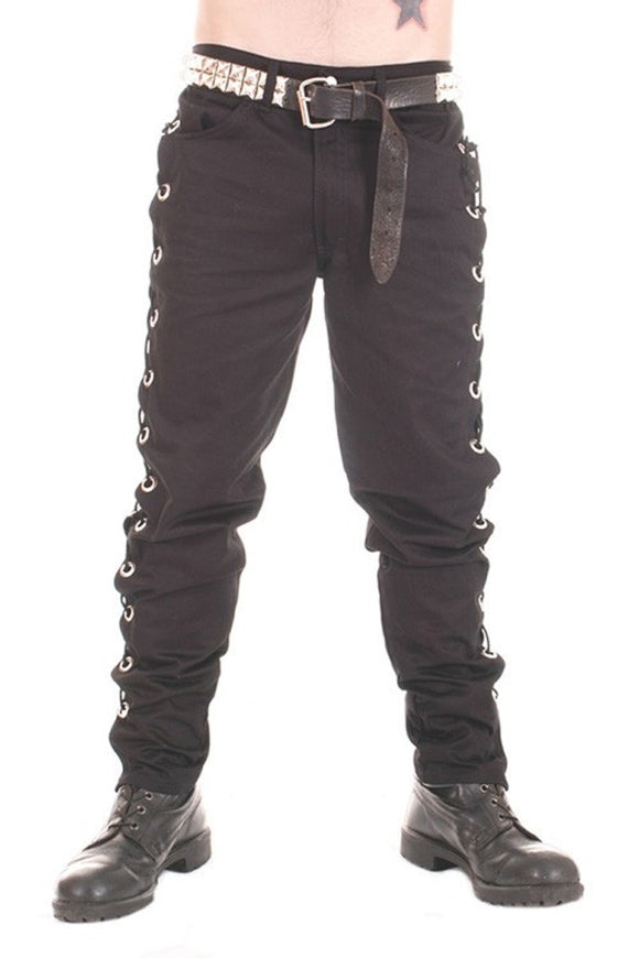 Tiger of London - Rockabilly Black Cotton Trousers with Large Eyelets and Lace Sides