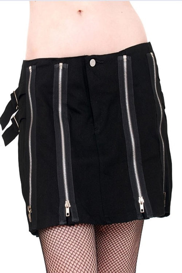Tiger of London - Punk Cotton Short Skirt with Zips