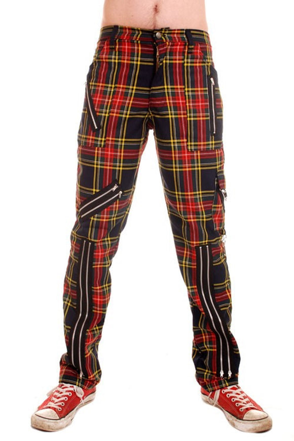 Tiger of London - Punk Multi Zip Bondage Cotton Tartan Pants