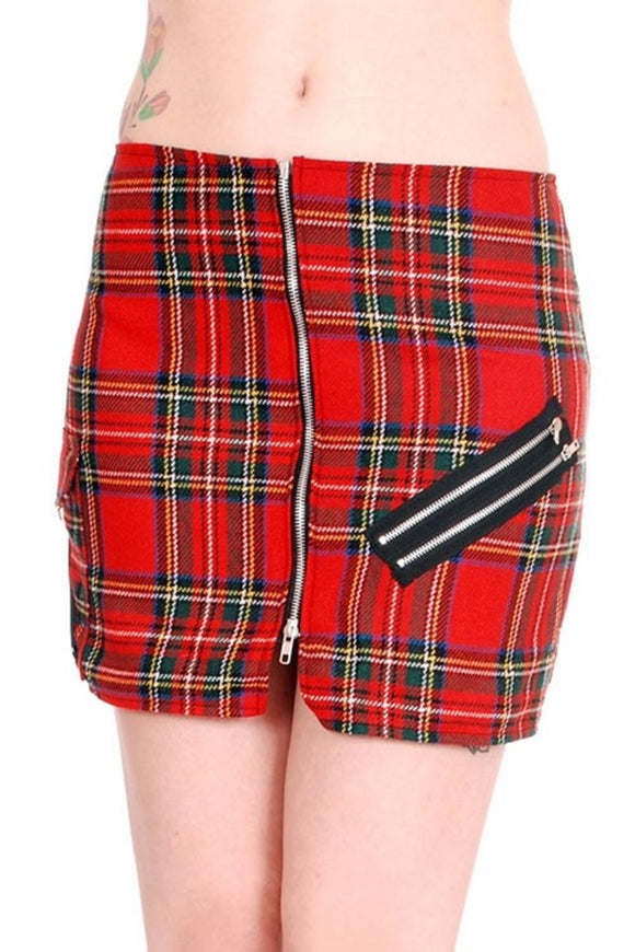 Tiger of London - Punk Red Tartan Bondage Split Skirt