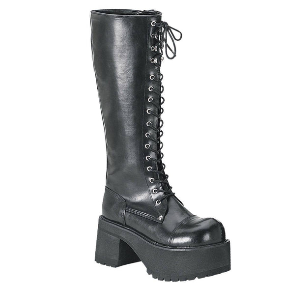 Demonia - Men's Block Heel Goth Punk Platform Knee Ranger Boot