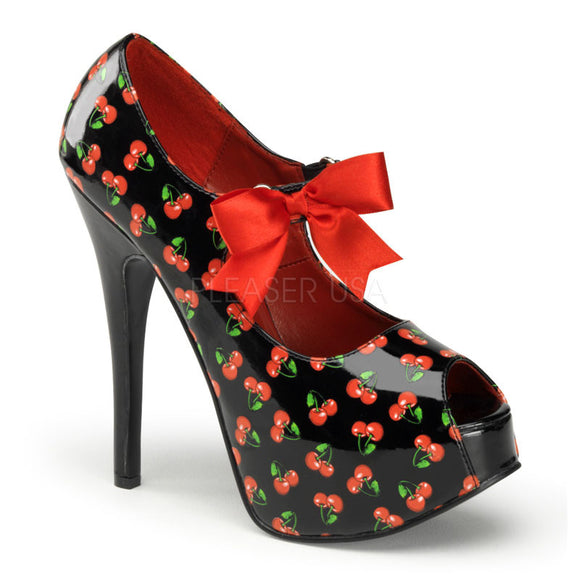 Bordello Shoes - Red Cherry Mary Jane Peep Toe Heels - Egg n Chips London