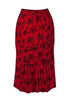 Voodoo Vixen - Red Floral Pencil Skirt