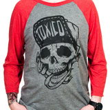 Toxico Clothing - Red-Grey Suicidal Baseball Shirt - Egg n Chips London
