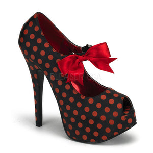 Bordello Shoes - Red Polka Dot Platform Heels - Egg n Chips London