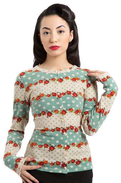 Voodoo Vixen - Red Rose and Polka Dot Cardigan