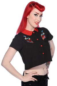 Banned Apparel - Red Swallows Black Short Shirt - Egg n Chips London