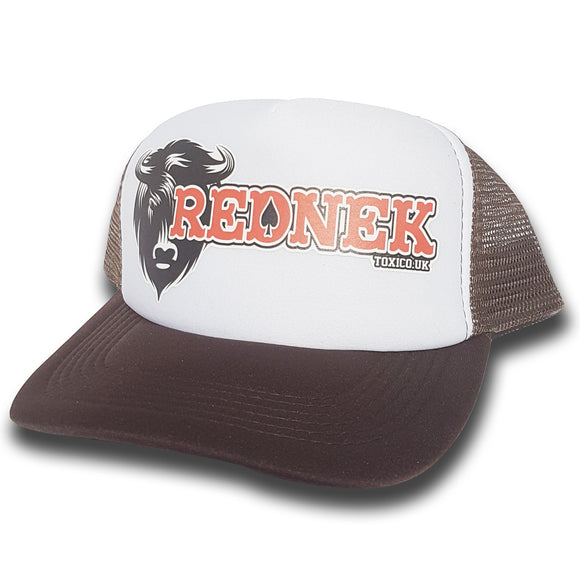 Toxico Clothing - Rednek Bison Trucker Hat (Brown/White) - Egg n Chips London