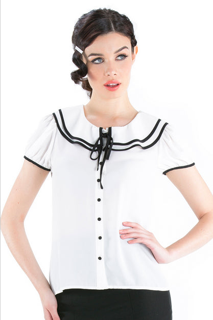Voodoo Vixen - Retro White Rockabilly Blouse - Egg n Chips London