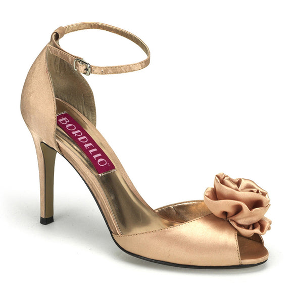 Bordello- Rosa02 Champagne Satin Peep Toe Ankle Strap Sandal - Egg n Chips London