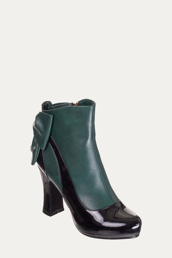 Banned Apparel - Sadie Green Bow Heel Ankle Boots - Egg n Chips London