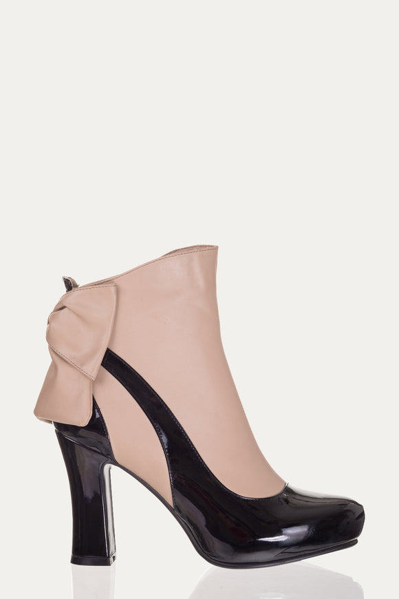 Banned Apparel - Sadie Taupe Bow Heel Ankle Boots - Egg n Chips London