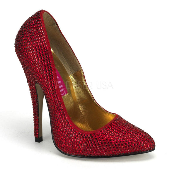 Bordello - Scandal620R Red Rhinestones Pointy Toe Pump - Egg n Chips London