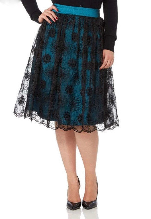 Voodoo Vixen - Shannon Scalloped Lace Teal Skirt - Egg n Chips London