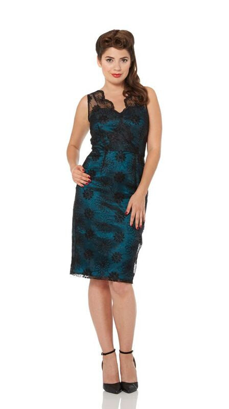 Voodoo Vixen - Simone Teal Floral Organza Wiggle Dress - Egg n Chips London