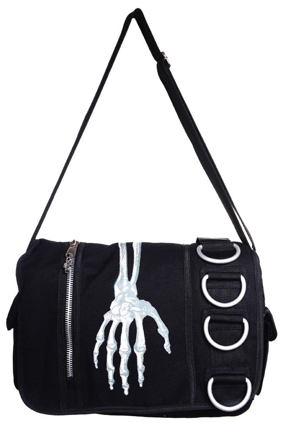 Banned Apparel - Skeleton Hand Messenger Bag - Egg n Chips London