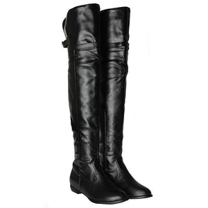 Sexy Women Buckle Synthetic Leather Over The Knee Flat High Boots