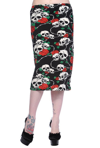 Banned Apparel - Skull and Roses Black Pencil Skirt