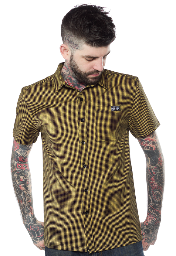 Kustom Kreeps - Alternative Mustard Check Button Down Shirt