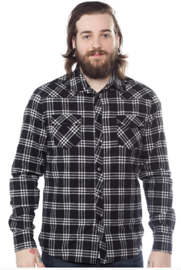 Kustom Kreeps - Alternative Western Button Down Blk / Wht Plaid