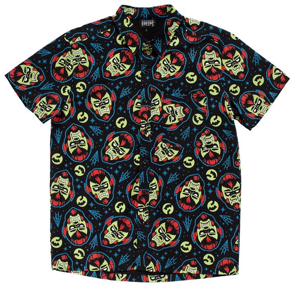 Kustom Kreeps - Rockabilly Wolfman Button Down