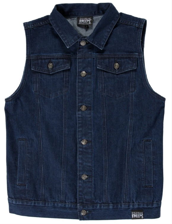 Kustom Kreeps - Rockabilly Denim Blue Vest