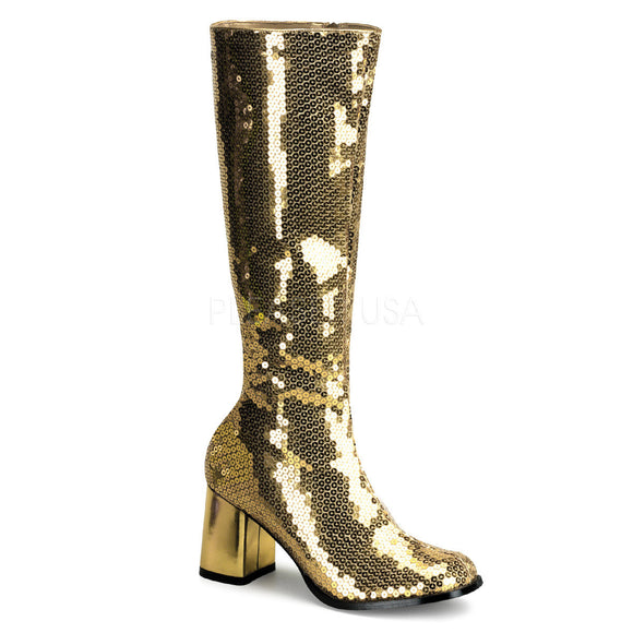 Bordello - Spectacul300SQ Block Heel Gold Sequins Knee Boot - Egg n Chips London