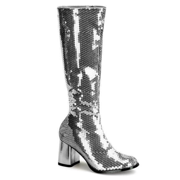 Bordello - Spectacul300SQ Block Heel Silver Sequins Knee Boot - Egg n Chips London