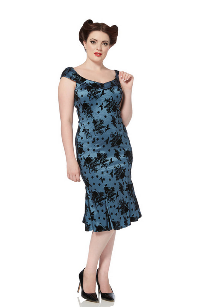 Voodoo Vixen - Stella Fitted Floral Flock Dress