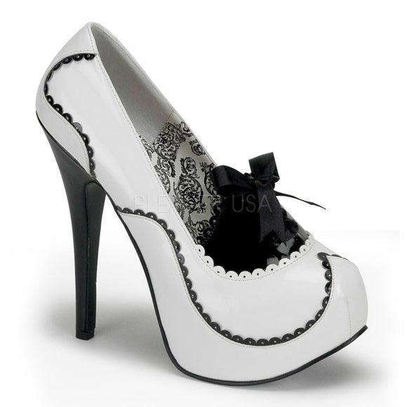 Bordello - Teeze01 White-Black Patent Platform Pump - Egg n Chips London