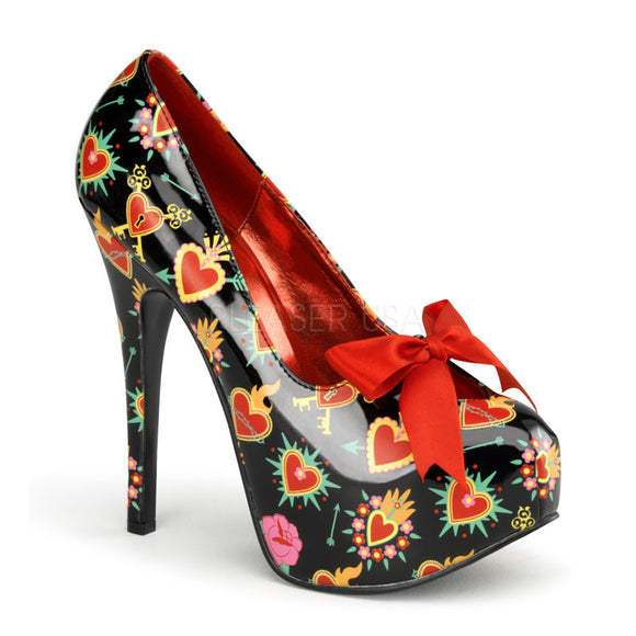 Pin Up Couture - Teeze Black Patent Platform Pump with Sacred Heart Print - Egg n Chips London
