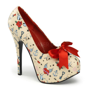Pin Up Couture - Teeze Cream Pu Platform Pump with Tattoo Print - Egg n Chips London