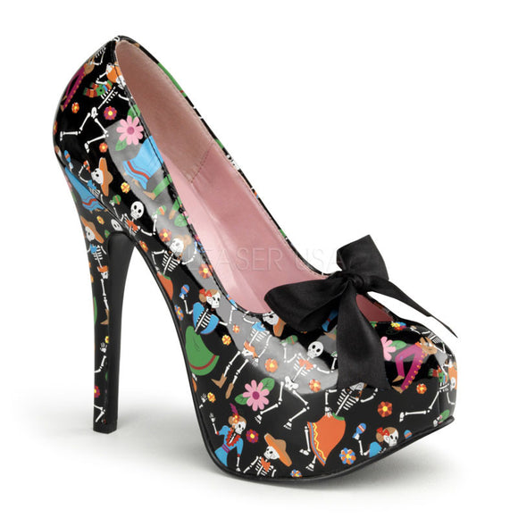 Pin Up Couture - Teeze Black Patent Platform Pump with Muertos Print - Egg n Chips London