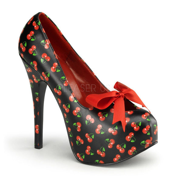Pin Up Couture - Teeze Black Pu Platform Pump with Cherries Print - Egg n Chips London
