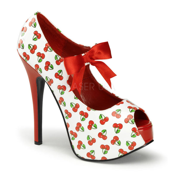 Pin Up Couture - Teeze White-Red Patent Peep Toe Heels with Cherries Print - Egg n Chips London