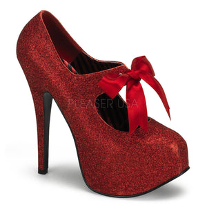 Bordello -Teeze04G Red Mini Glitter Platform Pump - Egg n Chips London
