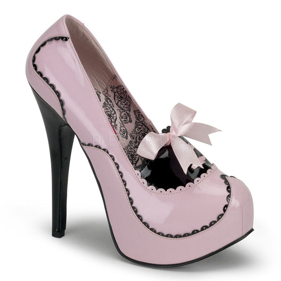 Bordello - Teeze01 Baby Pink-Black Patent Platform Pump - Egg n Chips London