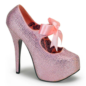 Bordello - Teeze04R Baby Pink Rhinestones Platform Pump - Egg n Chips London