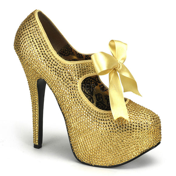 Bordello - Teeze04R Gold Rhinestones Platform Pump - Egg n Chips London