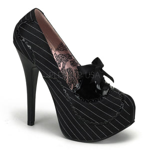 Bordello - Teeze01 Black Pinstripes Satin-Black Patent Platform Pump - Egg n Chips London