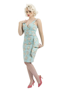 Voodoo Vixen - Tilda Pink Roses Blue Pencil Dress - Egg n Chips London