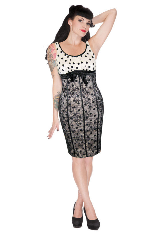 Voodoo Vixen - Tori Spot and Lace Hourglass Wiggle Dress