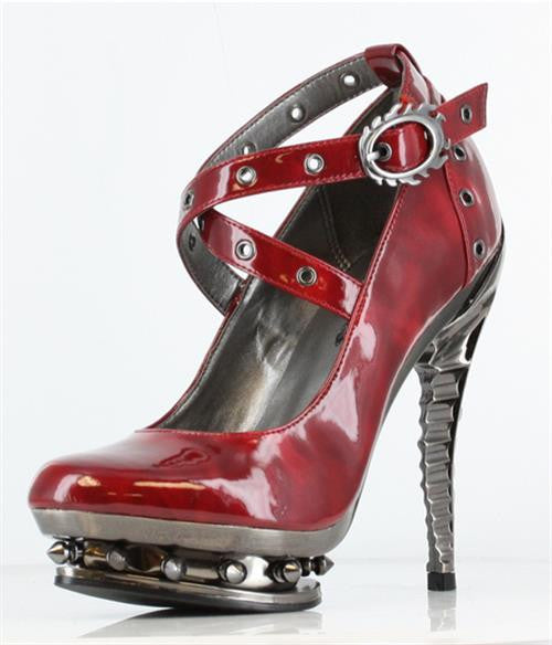 Hades Shoes - Burgundy Triton Stiletto Platforms - Egg n Chips London