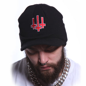 Toxico Clothing - Unisex Black Satan Army Peaked Ski Hat - Egg n Chips London