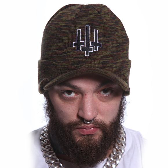 Toxico Clothing - Unisex Camo Satan Army Peaked Ski Hat - Egg n Chips London