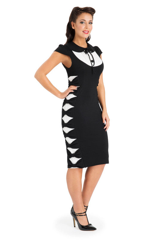 Voodoo Vixen - Valentina Black & White Bows Wiggle Dress - Egg n Chips London