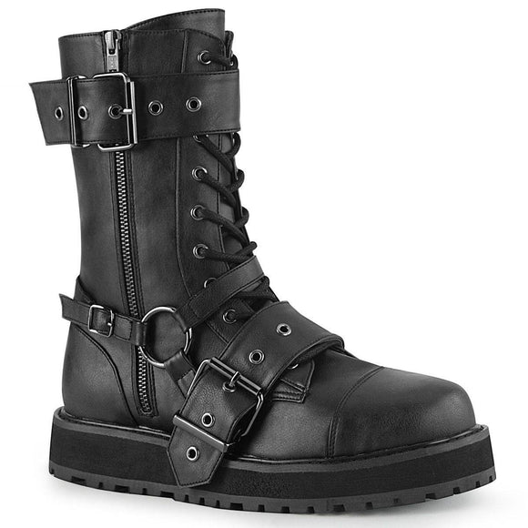 Demonia - Men's Gothic Lace-Up Mid-Calf Valor Boot With Side Zip