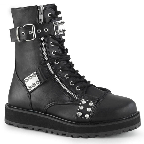 Demonia - Men's Gothic Lace-Up Front Ankle Valor Boot With Adjustable Top Strap
